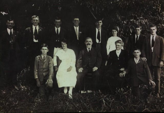 Samuel & Sophia Anderson & Family Back Row: Joseph, Bruce, Walter, Charles, Frank, Alberta, Dixon, Donald. Front Row: Archibald, Alice, Samuel, Sophia, Sam. Photo taken 1919 at Boambee (absent: Barbara)