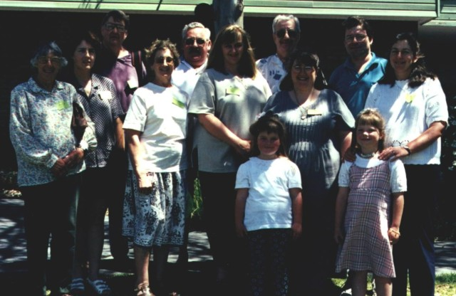 Descendants of Samuel and Elizabeth Anderson at the Timbs Family Reunion Albion Park, November 1997 L to R: Edith Faulks, Ros & Peter Anderson, Jan & Ted Costello, Kylie Hoschke, Stan Anderson, Gail & Bill Anderson, Kathy Finigan & daughters.
