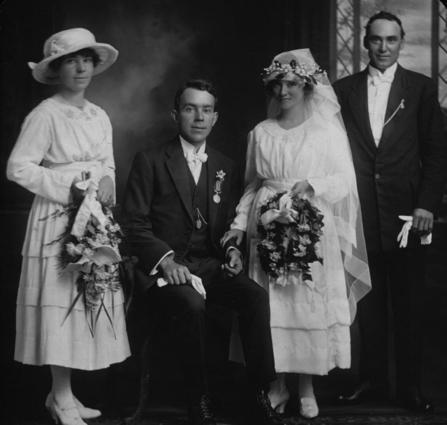 Louis and Stella Layton on their wedding day; 30th June 1920, with their bridesmaid Ivy Layton and best man.